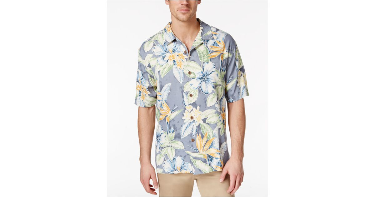 Tommy bahama men 39 s big and tall island blooms silk short for Dress shirts for tall men