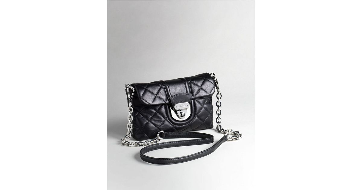 fcc8cc6c9aad Lyst - Calvin Klein Quilted Leather Crossbody Bag in Black