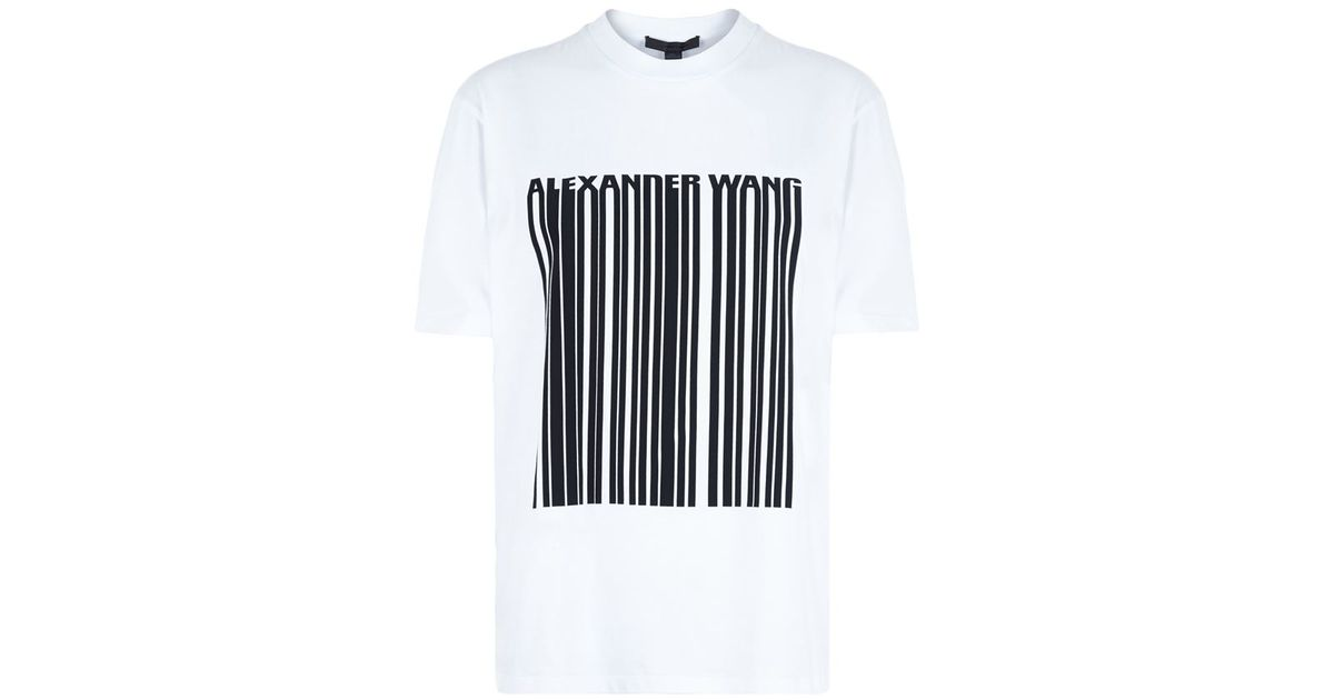 Alexander Wang Logo Barcode T Shirt In White Lyst