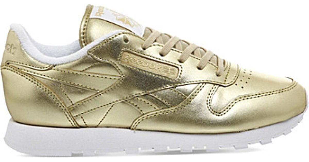 reebok classic leather trainers in metallic lyst. Black Bedroom Furniture Sets. Home Design Ideas