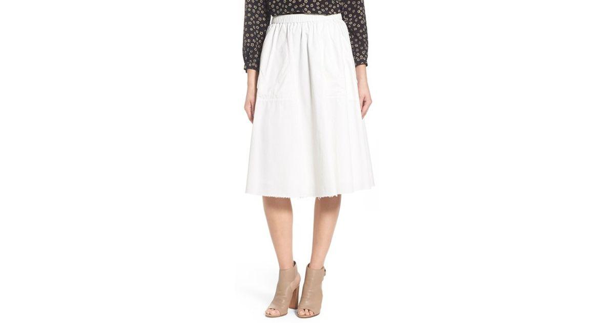 madewell sidewalk cotton midi skirt in white lyst