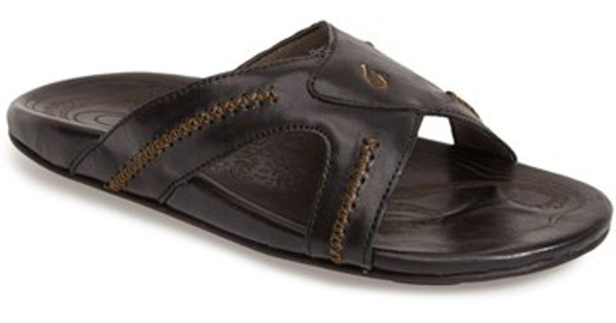 Olukai Mea Ola Slide Sandal In Black For Men Lyst