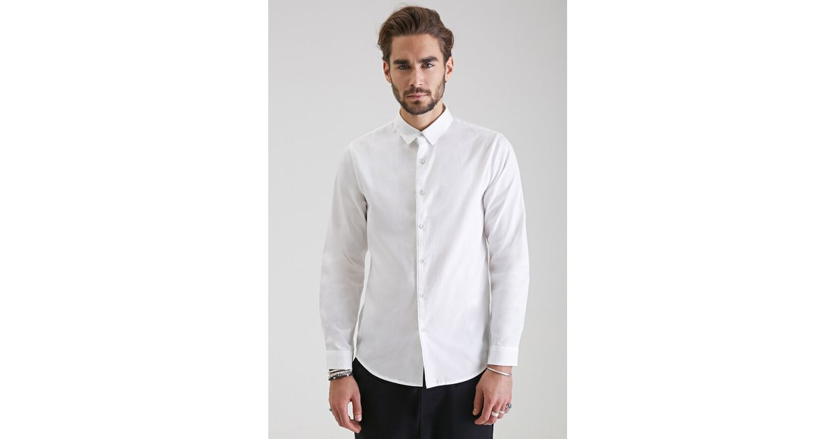 Lyst - Forever 21 Classic Collared Button-down Shirt in White for Men