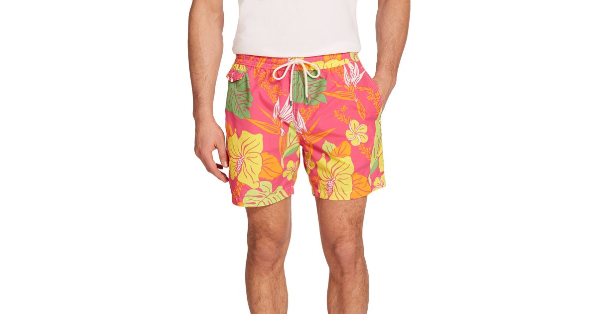 9a3c1c8ff6 ... switzerland lyst polo ralph lauren traveler floral print swim trunks  for men 779ee c4dab