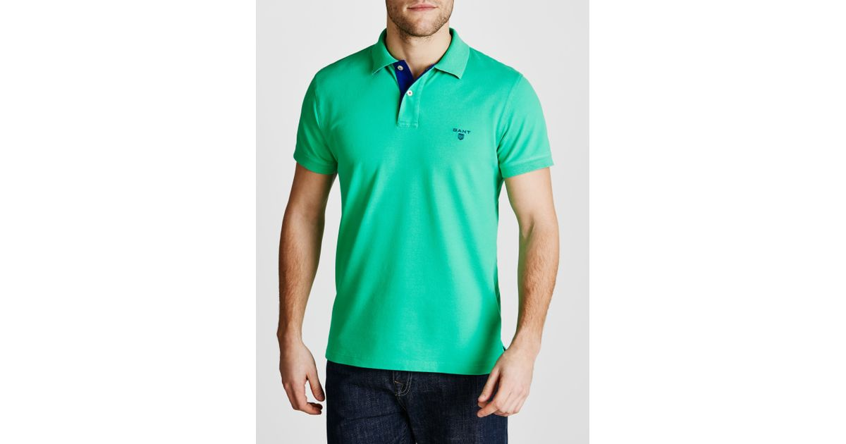 59b344fe03 GANT Contrast Collar Pique Polo Shirt in Green for Men - Lyst