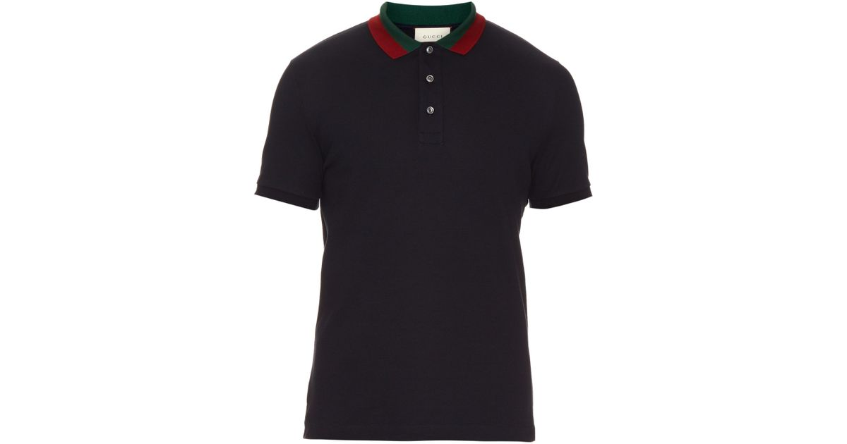 Lyst - Gucci Floral-embroidered Cotton-blend Polo Shirt in Black for Men fda2bff1e