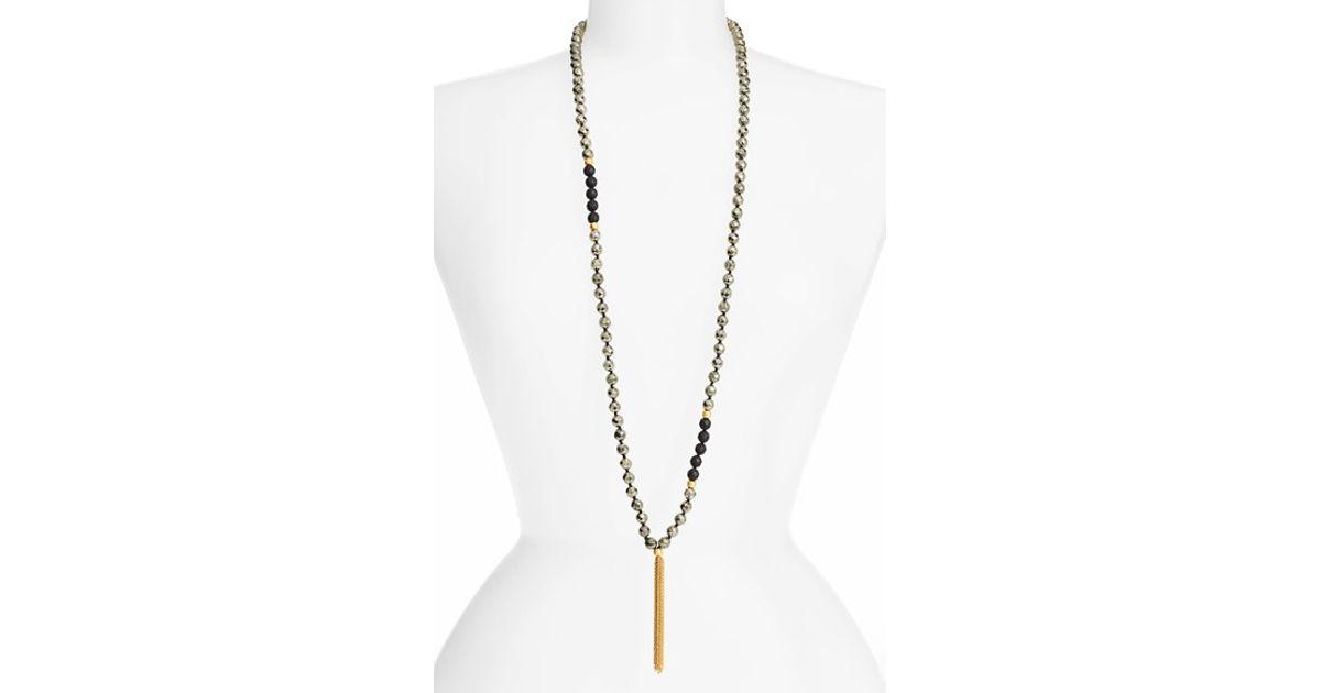 Satya Jewelry Pyrite Beaded Mala Necklace Grey OdNxD2kK