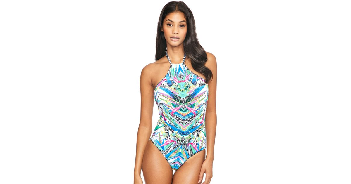 68189f40a6 Freya Tropicool Placement Swimsuit in Blue - Lyst