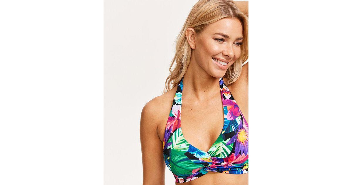 b3bc6a1539606 Figleaves Hawaii Floral Soft Wrap Halter Bikini Top - Lyst