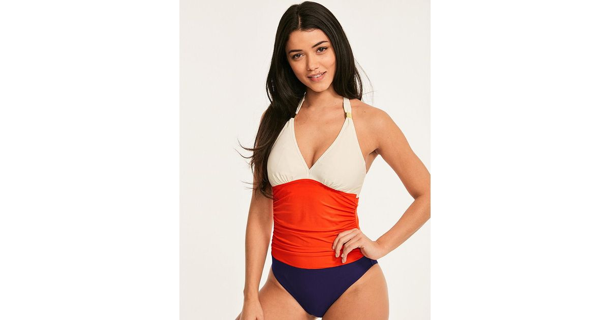 f0b767151 Figleaves Colourblock Underwired Shaping Halter Swimsuit D-GG Cup in Red -  Lyst