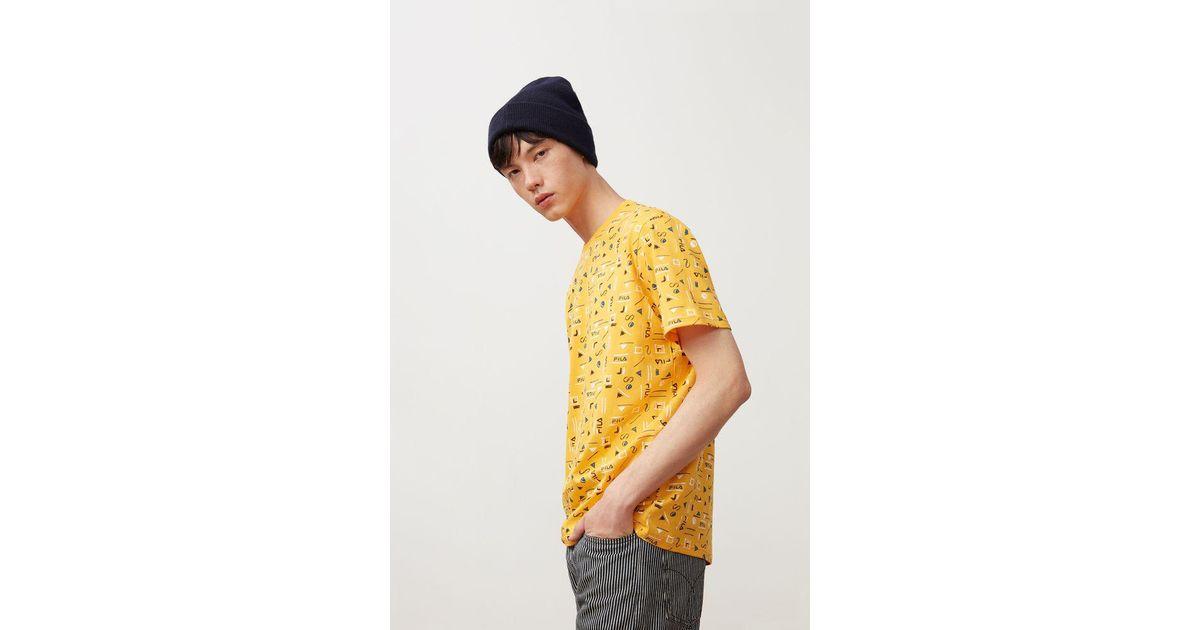 78dcd0c6 Fila Alfie All Over Print Tee in Yellow for Men - Lyst