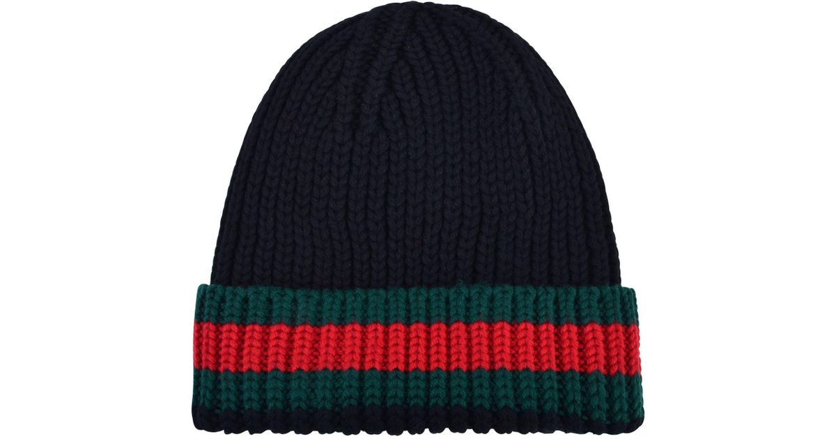 Lyst - Gucci Web Trim Beanie Hat in Black for Men ccca1f91b364