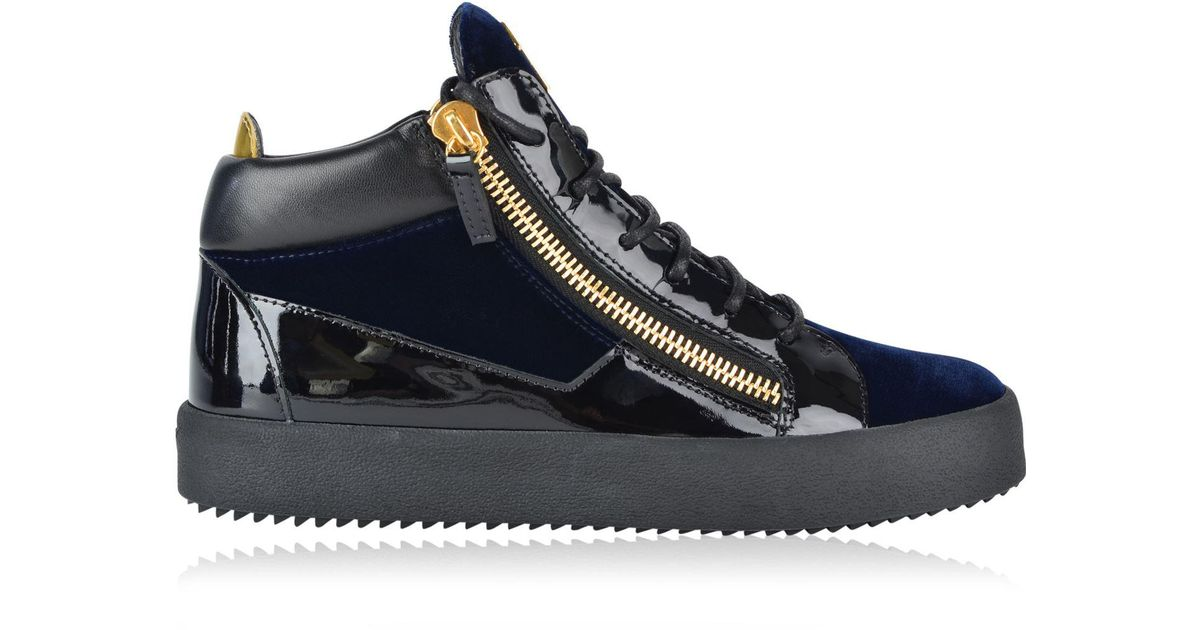 18ea9a088 Giuseppe Zanotti May Velvet Panel High Top Trainers in Blue - Lyst