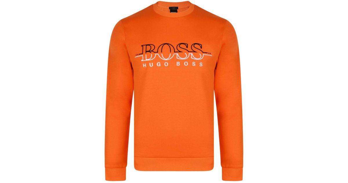 15a3f40c9 BOSS Athleisure Salbo Crew Neck Sweatshirt in Orange for Men - Lyst