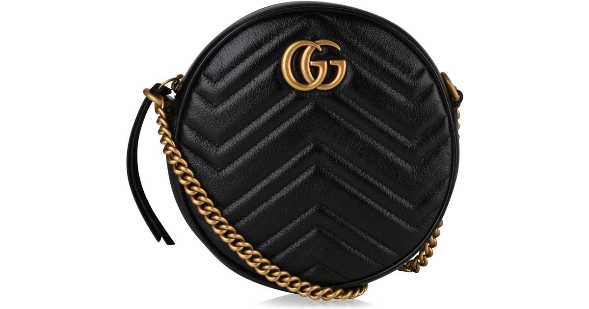 cd21607ac046 Gucci Women's Black Zigzag Marmont Round Leather Quilted Camera Bag in Black  - Save 20% - Lyst
