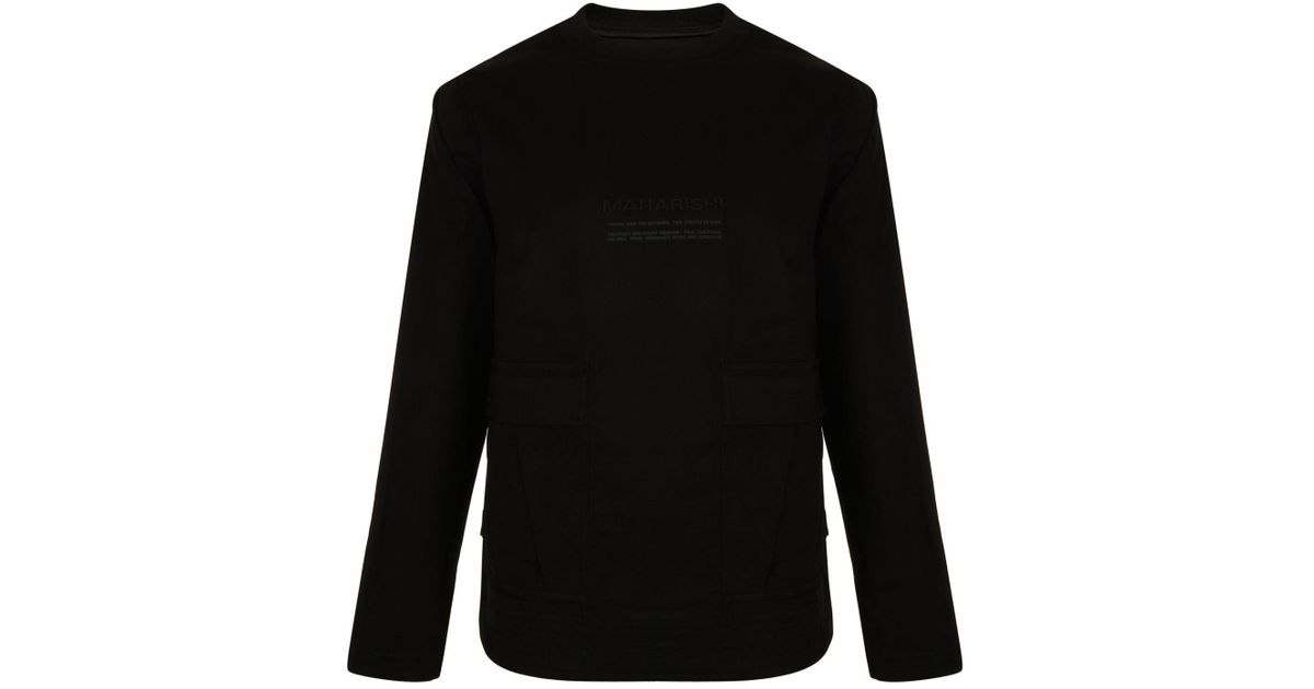 96072358c Maharishi Double Pocket Long Sleeved T Shirt in Black for Men - Lyst