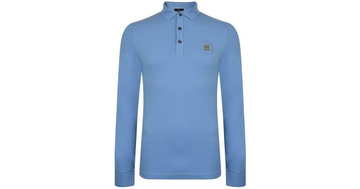 5a8b933d5 BOSS by Hugo Boss Passerby Long Sleeve Polo Shirt in Blue for Men - Lyst