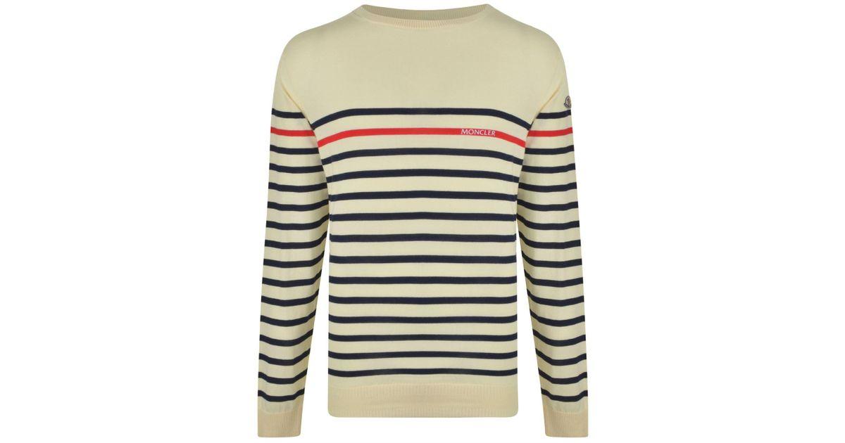 e18b6c0d2 Moncler Stripe Logo Knitted Jumper in Blue for Men - Lyst