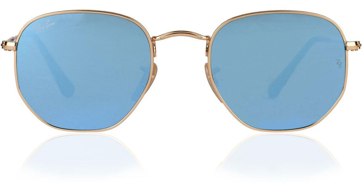 0dbca306d8a Ray-Ban Hexagonal Flat Lens Sunglasses in Blue for Men - Lyst