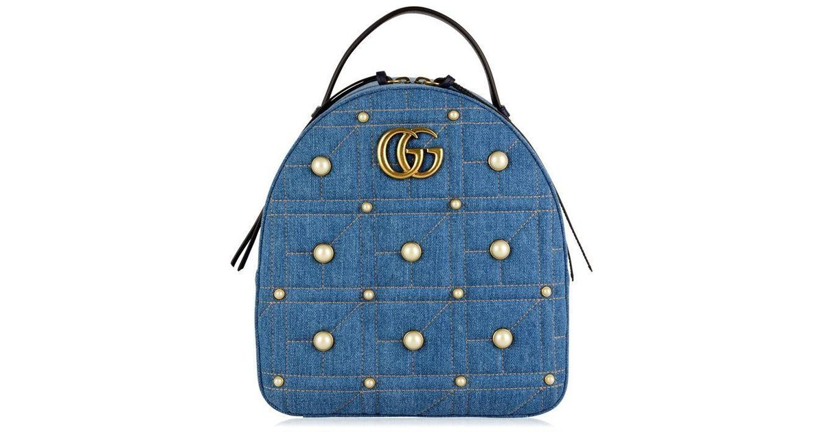 2b400425c85c Gucci Denim Marmont Backpack in Blue - Lyst