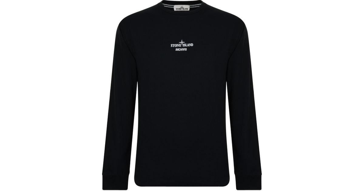 04256323 Stone Island Archivio Long Sleeve T Shirt in Black for Men - Lyst