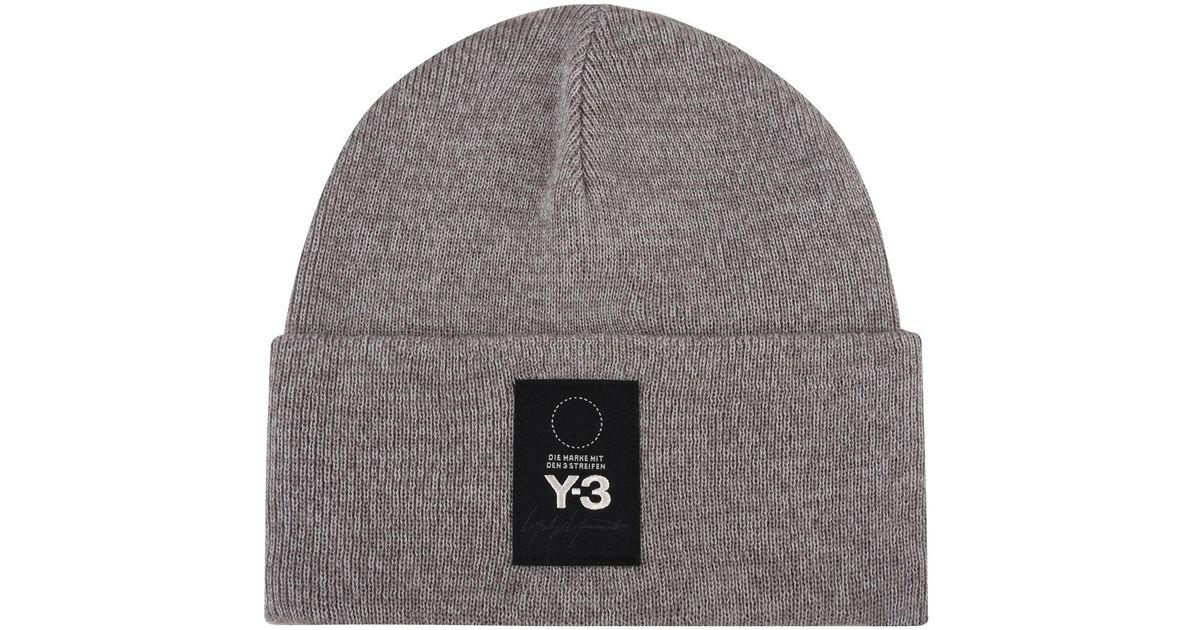 ffe4b3d88bea Lyst - Y-3 Logo Patch Beanie Hat in Gray for Men