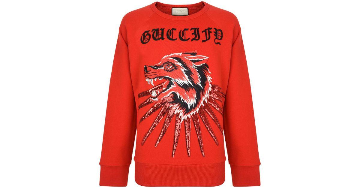 3484fdbebad Lyst - Gucci Wolf Ray Sweatshirt in Red for Men