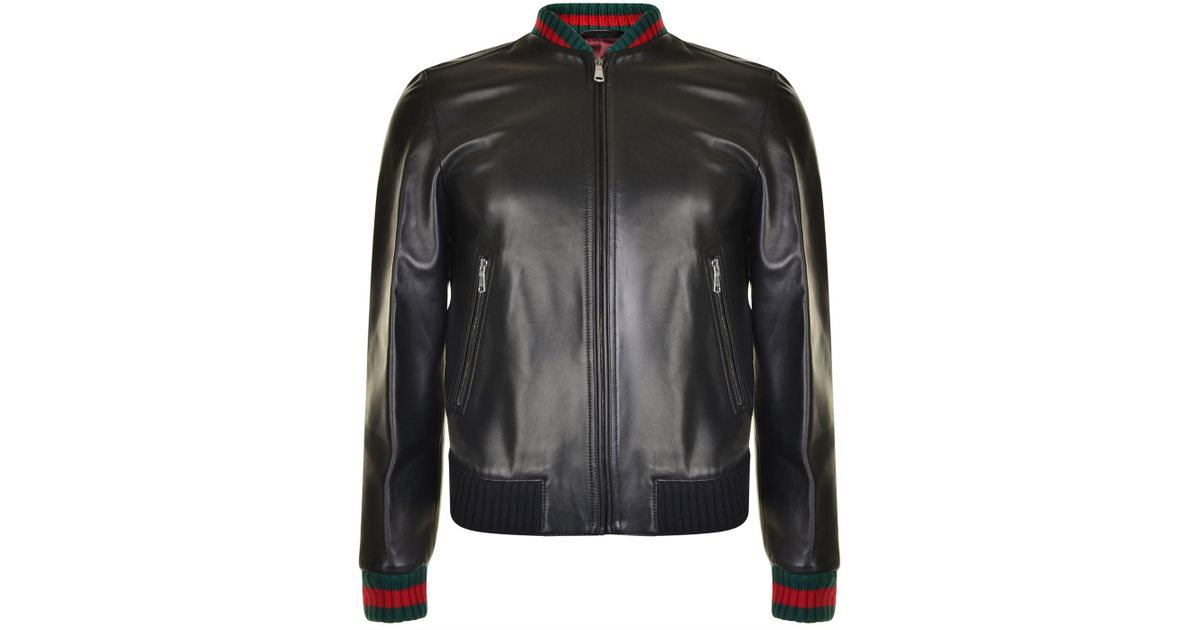43723b19b Gucci Leather Baseball Jacket in Black for Men - Lyst