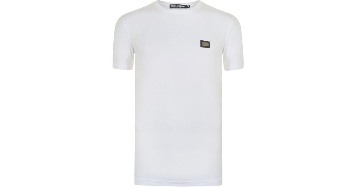 068f6d471 Dolce & Gabbana Plate Logo T Shirt in White for Men - Lyst