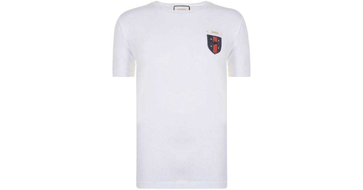 a49c94e08 Gucci Jaguar Patch T Shirt in White for Men - Lyst