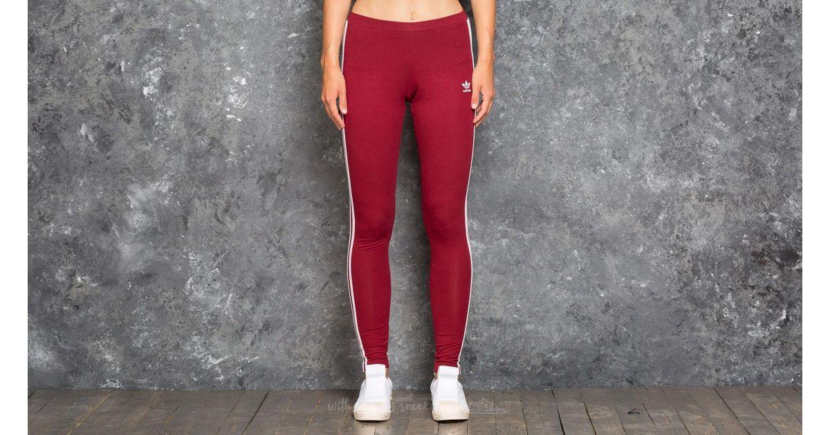 935899224b1 adidas Originals Adidas 3 Stripes Leggings Collegiate Burgundy in Red - Lyst
