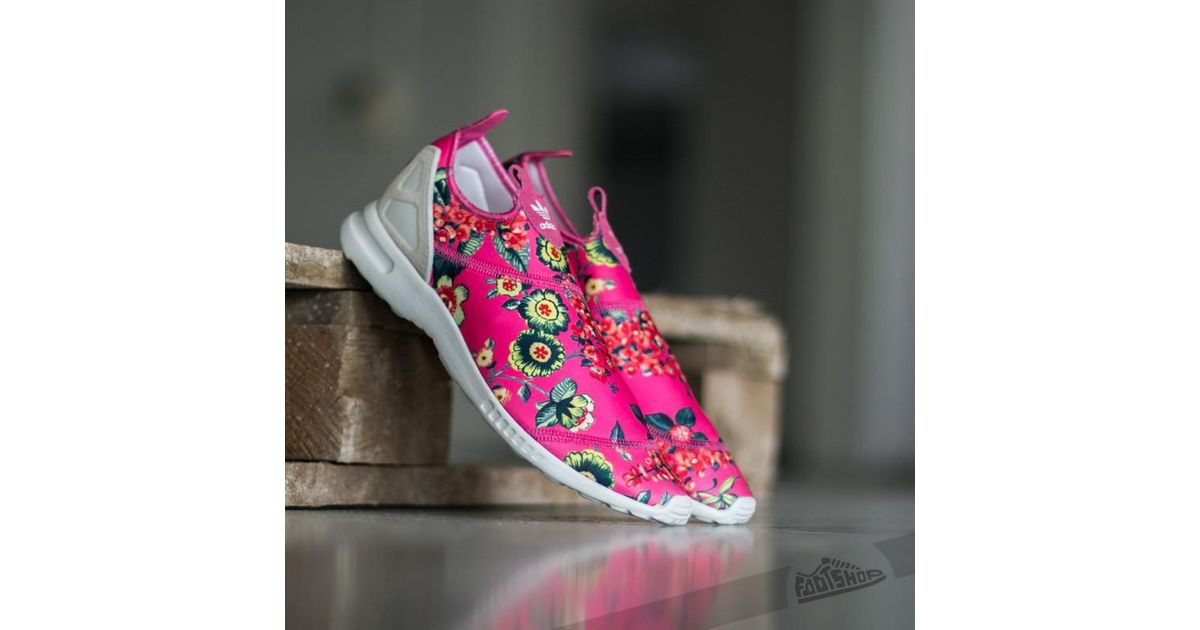 ad8dcb2455890 Lyst - adidas Originals Adidas Zx Flux Adv Smooth Slip On Ray Pink   Owwhite  Ray Pink in Pink
