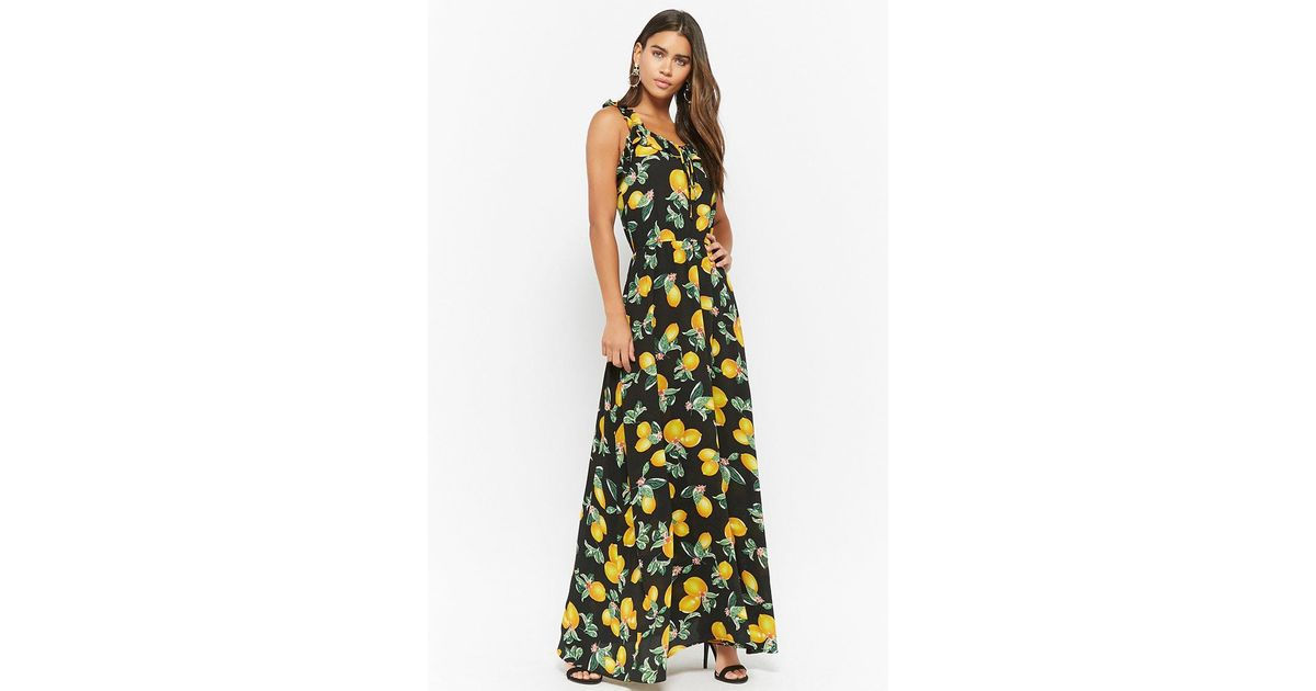 5f7d8346ab776 Forever 21 Eta Lemon Print Maxi Dress in Black - Lyst