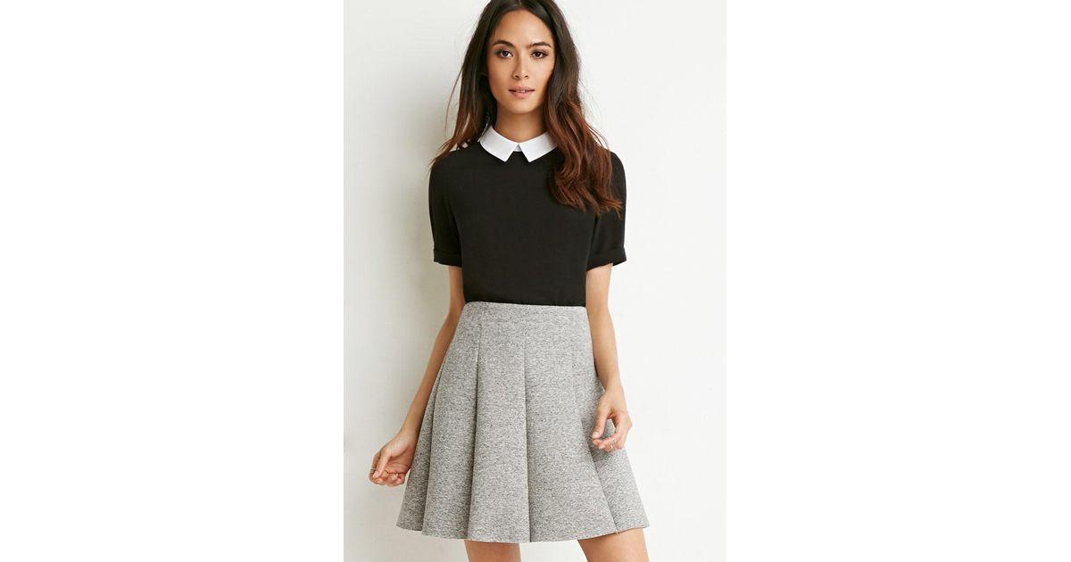 a90b9e6dc7 Forever 21 Scuba Knit Skater Skirt in Gray - Lyst
