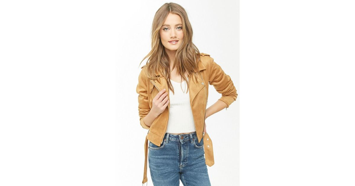 19fd3fbe62e Lyst - Forever 21 Faux Suede Moto Jacket in Natural