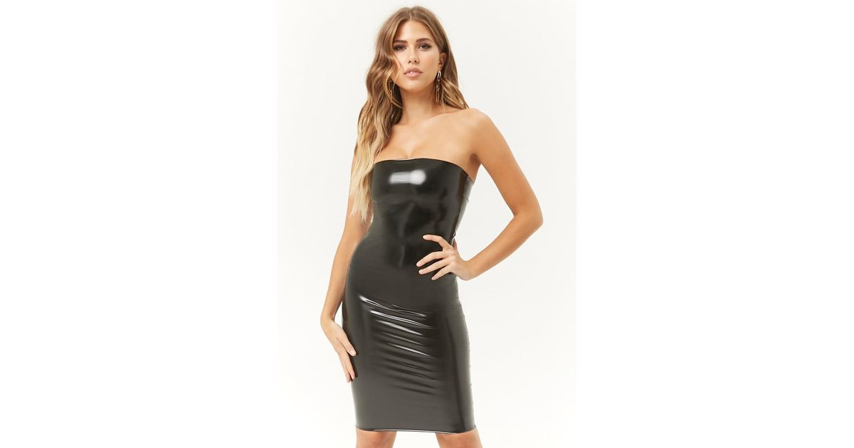 66a1f892ae1 Lyst - Forever 21 Kikiriki Faux Patent Leather Tube Dress in Black