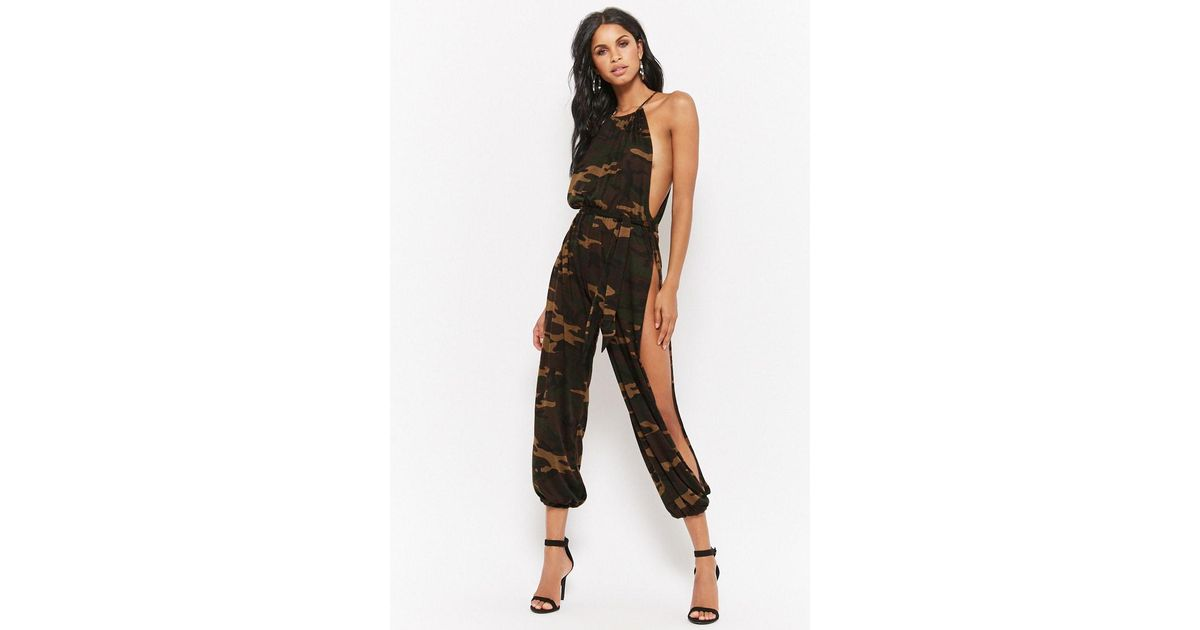 Forever 21 Womens Open Leg Camo Jumpsuit In Black Lyst