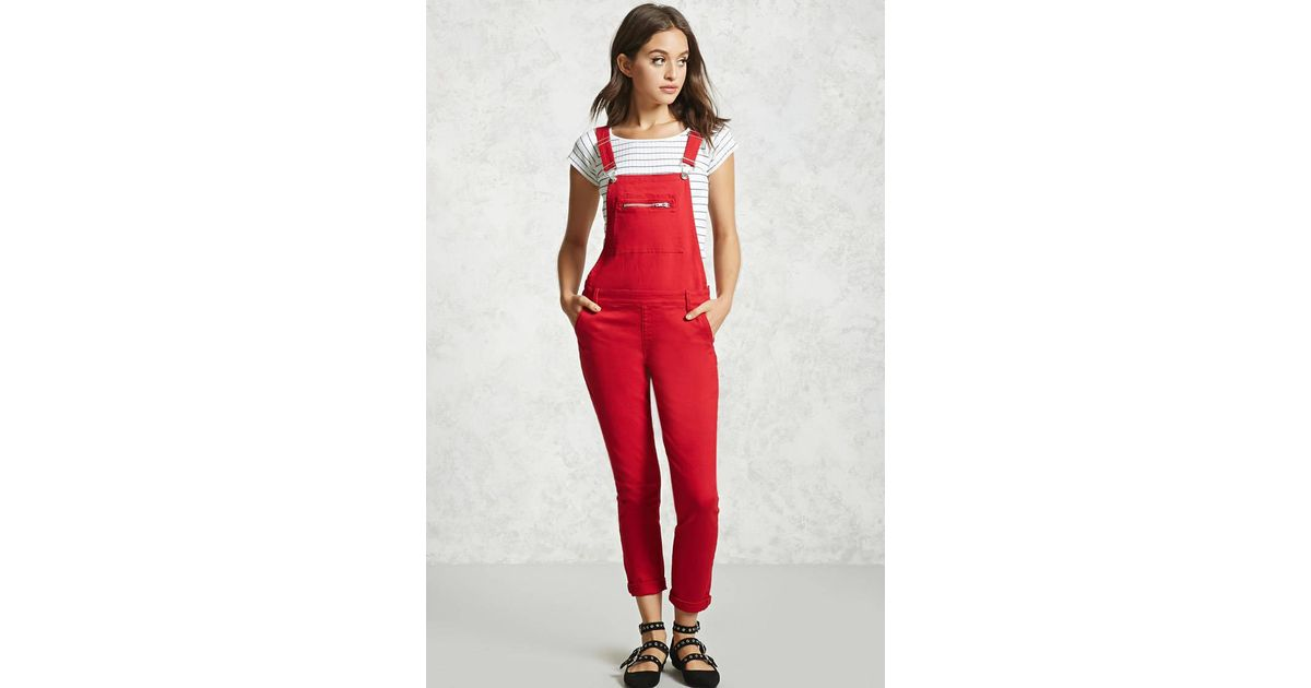 174f46f59d6 Lyst - Forever 21 Skinny Denim Overalls in Red
