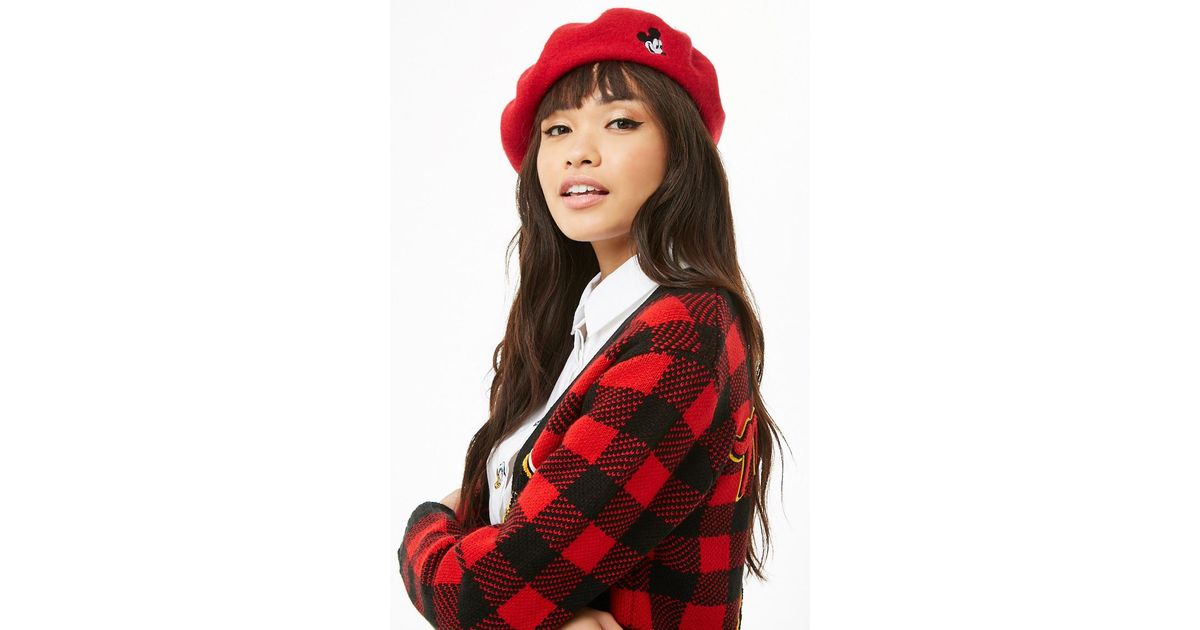 8bca1ea7e024b Forever 21 Mickey Mouse Patch Wool Beret in Red - Lyst