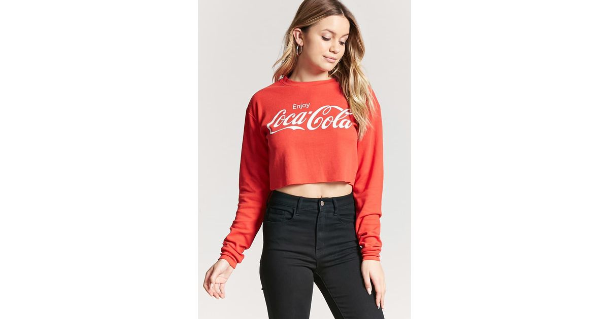 e50565f87b7 Forever 21 Coca-cola Waffle-knit Top in Red - Lyst