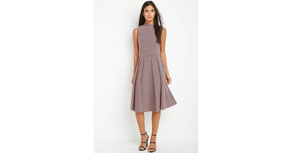 Lyst Forever 21 Contemporary Micro Grid Pleated A Line