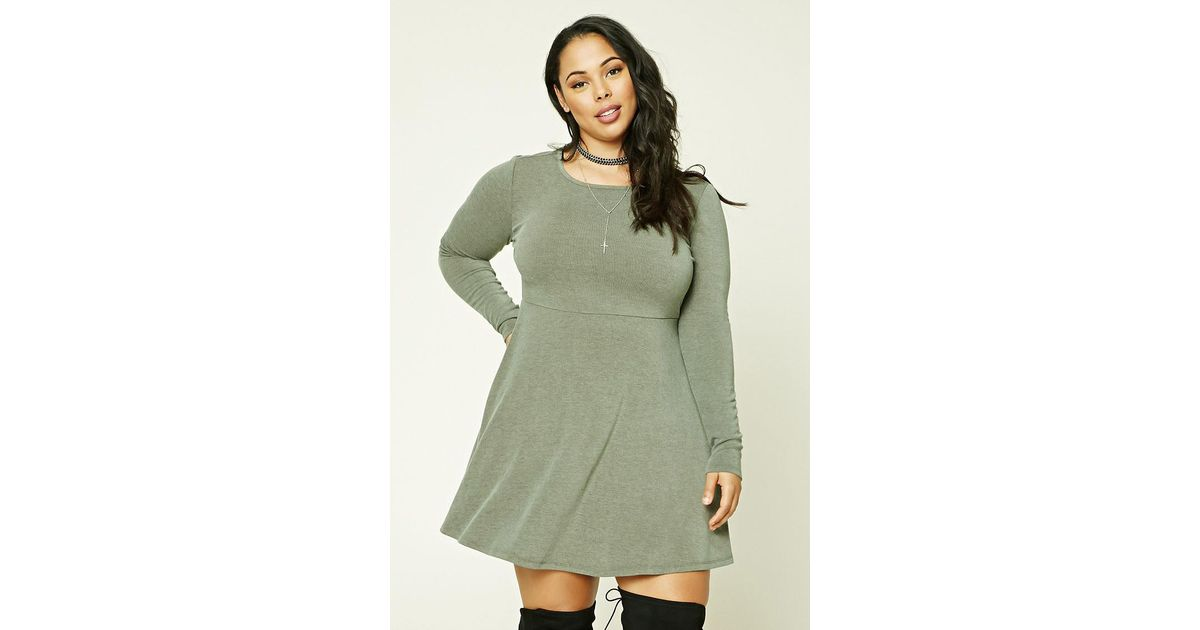 Lyst Forever 21 Plus Size Faded Skater Dress In Green