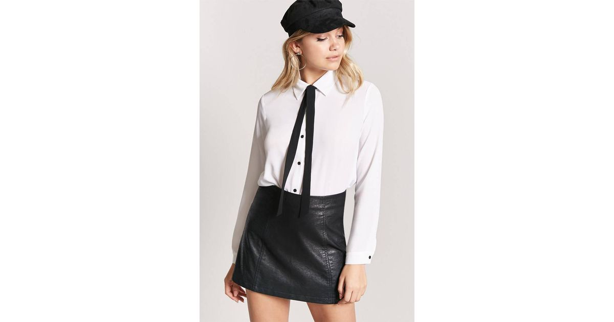 Lyst Forever 21 Textured Chiffon Self Tie Bow Shirt In Black