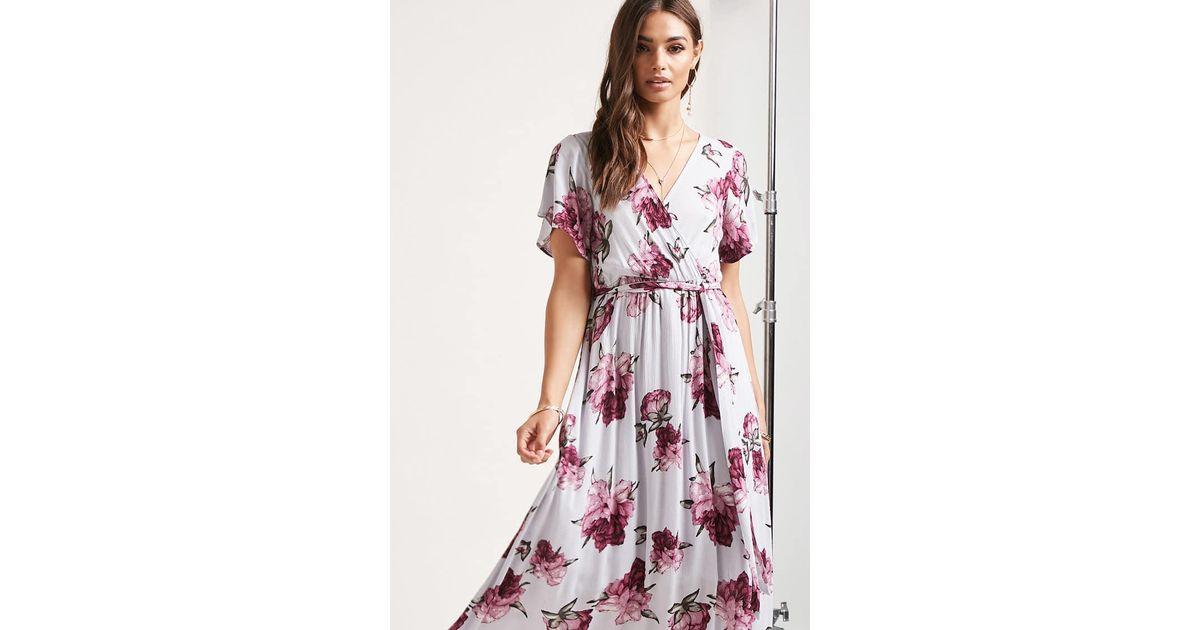 e49bc157341 Lyst - Forever 21 Floral Surplice Maxi Dress in Purple