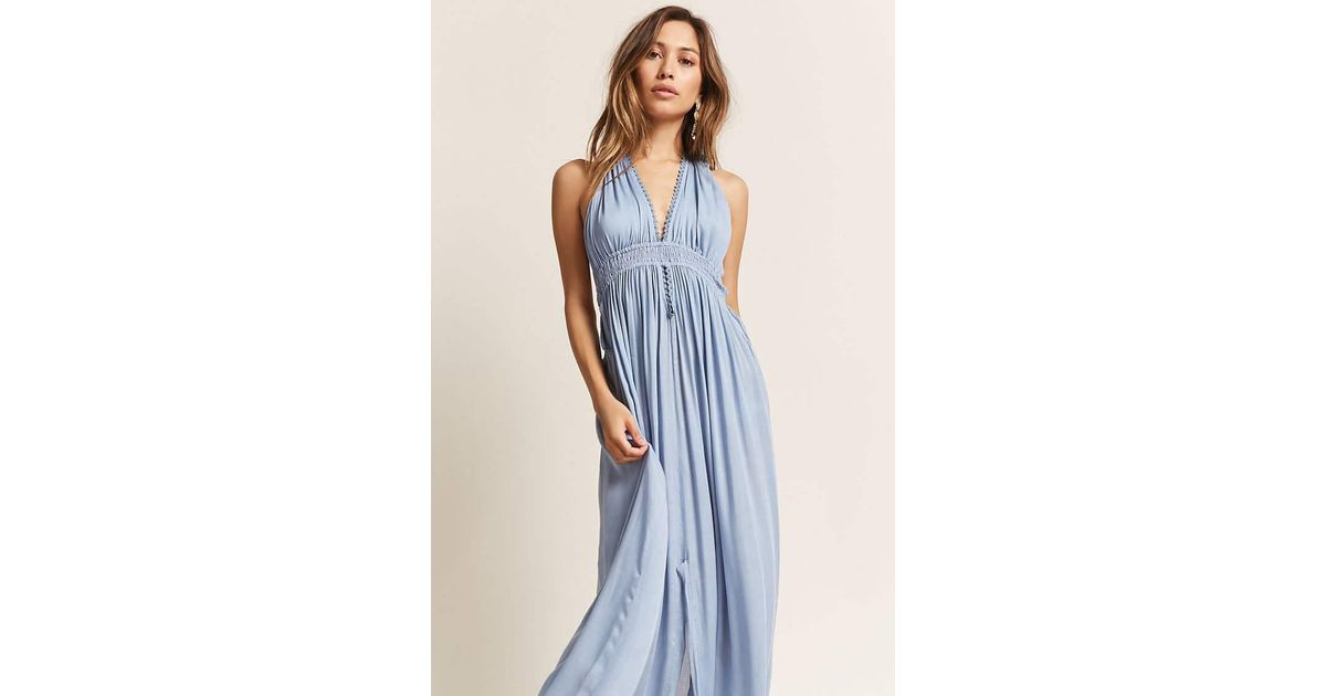a7f039b5a6f Forever 21 Boho Me Plunging Halter Maxi Dress in Blue - Lyst