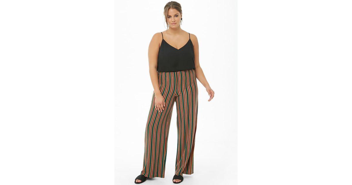5b4de53f9ec Forever 21 Women s Plus Size Multicolor Striped Palazzo Trousers in Green -  Lyst