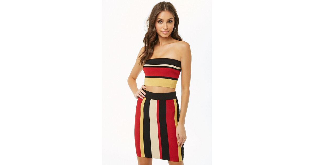 c8c628f474 Lyst - Forever 21 Striped Tube Top   Skirt Set in Red