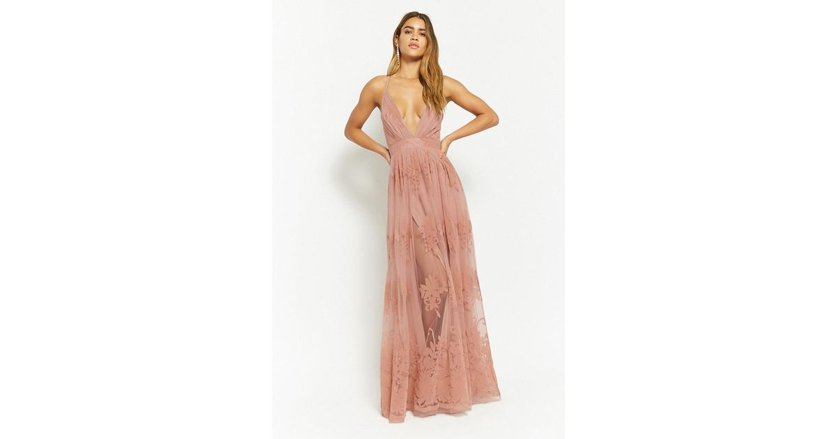 Lyst - Forever 21 Flocked Velvet Prom Gown in Pink