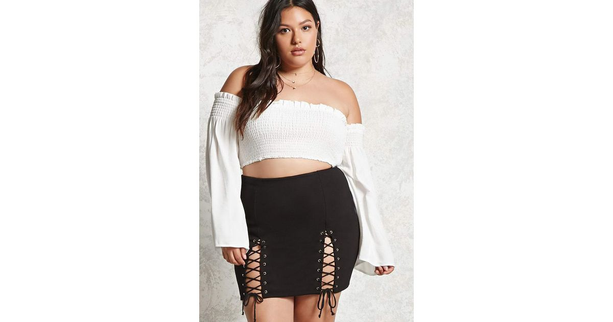 e4414fc7c8b Forever 21 Plus Size Lace-up Mini Skirt in Black - Lyst