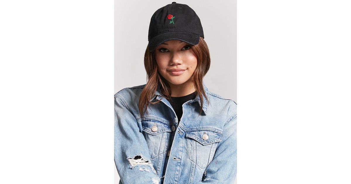 281f28e039ad7 Forever 21 Embroidered Rose Dad Cap in Black - Lyst